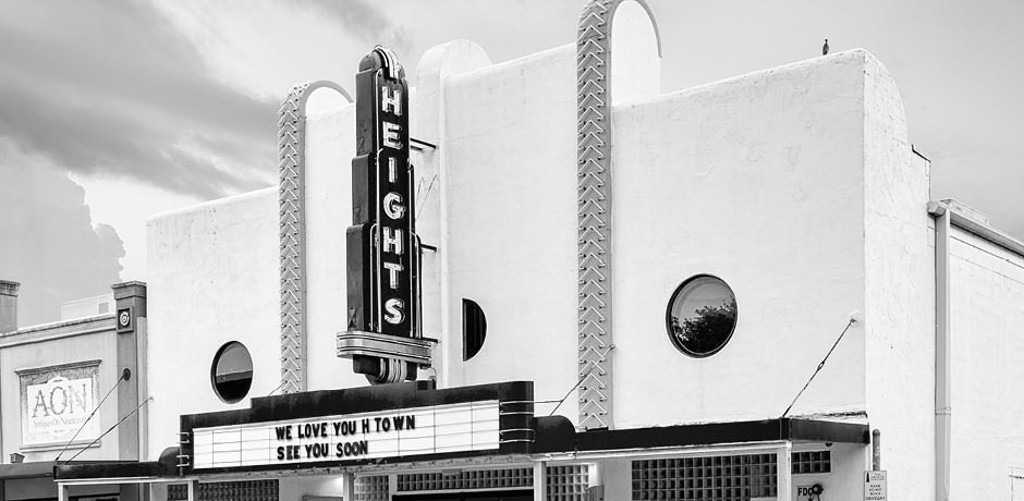black and white exterior image of Heights Theater